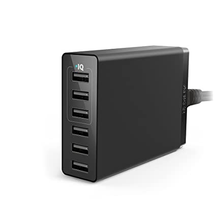 USB Charger, Anker 30W 6-Port USB Charger PowerPort 6 Lite for iPhone Xs/Xs Max/XR/X/8/7/Plus, iPad Air 2/Pro/Mini 3, Galaxy S9/S8/Edge/Plus, Note ...