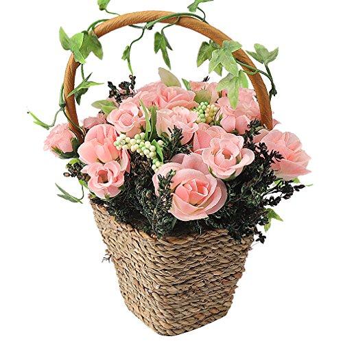 RERXN Artificial Flowers in Basket Mini Silk Rose Arrangement Home Party Wedding Decor ()