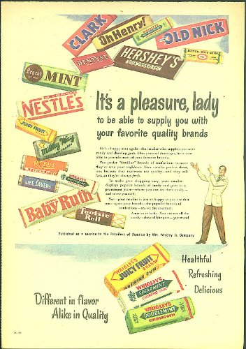 its-a-pleasure-lady-wrigley-nestle-milky-way-baby-ruth-tootsie-roll-ad-1948