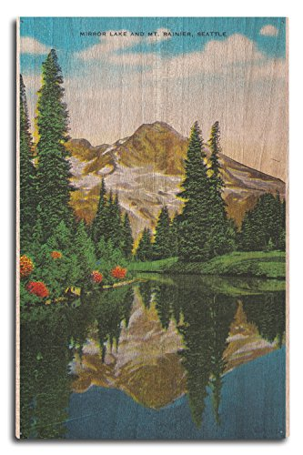 Lantern Press Mirror Lake and Mt. Rainier (10x15 Wood Wall Sign, Wall Decor Ready to Hang)