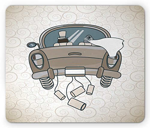 Price comparison product image Lunarable Wedding Mouse Pad, Swirled Lines Background with Bride Groom in Traditional Just Married Car, Standard Size Rectangle Non-Slip Rubber Mousepad, Pale Brown and Cream