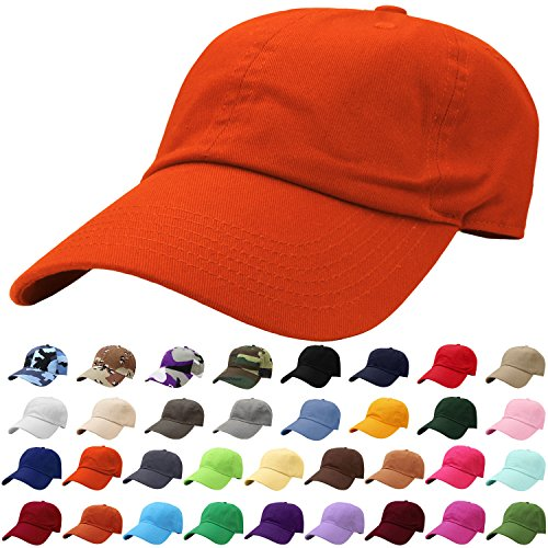 - Falari Baseball Cap Hat 100% Cotton Adjustable Size Orange 1814