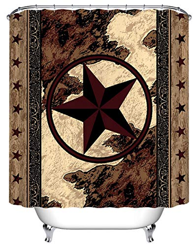 LB Retro Texas Stars Pattern Print Shower Curtain Set for Bathroom, West Theme House Decor, 70x70 Polyester Fabric Shower Curtain Waterproof