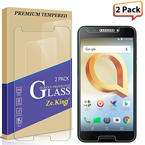 [2-Pack] Alcatel A30 Fierce 2017 Waltes 5.5 inch/Alcatel Jitterbug Smart 2 2018 Tempered Glass Screen Protector, Zeking 9H Hardness [Anti Scratch][Anti-Fingerprint], Lifetime Replacement Warranty