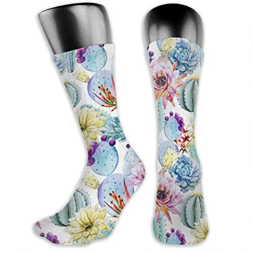 TLDRZD Unisex Cactus Succulents Novelty Stockings Funny Crazy 3D Print Casual Crew Tube Socks