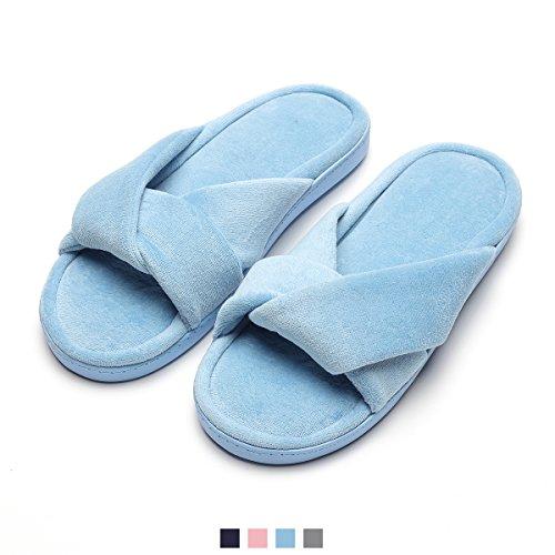 Blue Home Comfort Slippers Bedroom Foam Velvet for Cozy Spa Memory Slippers Women's 1xqHBPz