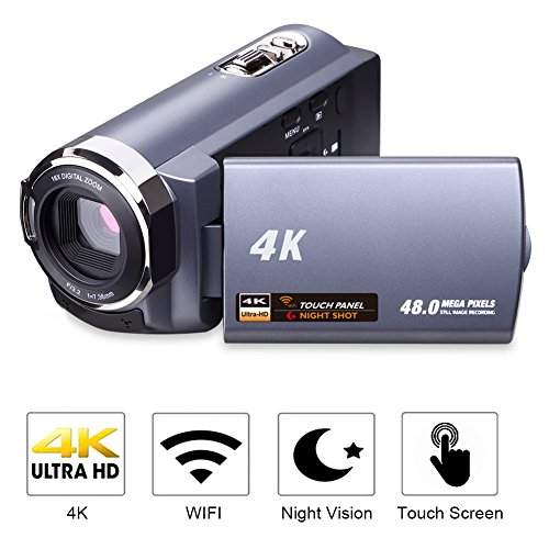 Camcorder 4K Camera Video Camera WiFi Camcorder Ultra HD 48MP Digital Camera 3.0'' Touch Screen Night Vision Pause Function by SUNLEA