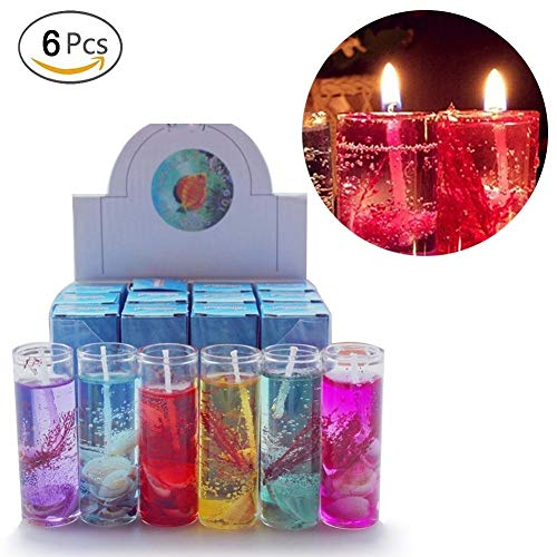 Hacloser 6Pcs Ocean Jelly Aromatherapy Candles Wedding Valentines Romantic Scented Candle, Random Color