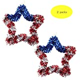 Christmas Decoration Halloween Garland 4th of July Wreath 2pcs Memorial Day Wreath Red Blue And Silver Party Home and Garden Accessories 18 Inch