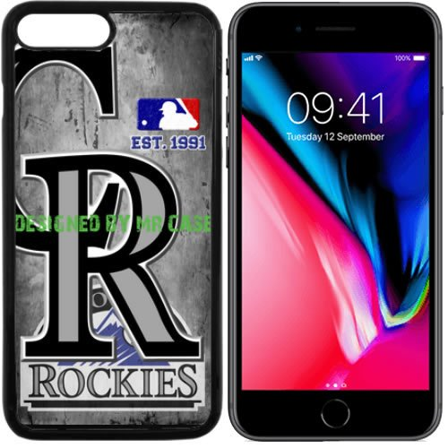 fan products of Rockies Colorado Baseball New Black Apple iPhone 8 Case By Mr Case
