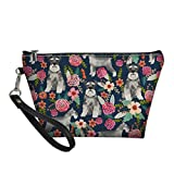 Mumeson Floral Schnauzer Pattern Trapezoid Make Up Bags Clutch Handbags