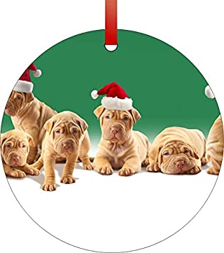 Cute Christmas Puppies.Amazon Com Cute Christmas Puppies Double Sided Round Shaped