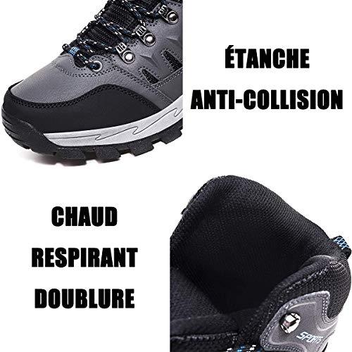 FOGOIN Chaussures de Randonnée Homme Femme Bottes de Marche Chaussures de Neige Hiver 5