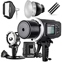 Godox AD600BM 600Ws GN87 HSS Flash Strobe Monolight with 8700mAh Battery, 600W Portable Lamp Flash Head, 23X23 Flash Softbox, 7 Standard Reflector, 7 Flash Diffuser and Portable Flash Bag