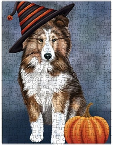 (Doggie of the Day Happy Halloween Shetland Sheepdog Dog Wearing Witch Hat with Pumpkin Puzzle with Photo Tin (1000 pc. 20