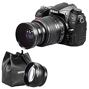 Neewer eg; 52MM Double Threaded High Definition Lens Kit for for NIKON D7100 D7000 D5200 D5100 D5000 D3300 D3200 D3000 D90 D80 DSLR Cameras and Any Other Lens with 52MM Thread, includes: 52MM 0.45X Wide Angle Lens with Detachable MACRO Lens + 52MM 2X Telephoto Lens + Lens Caps + Lens Bag