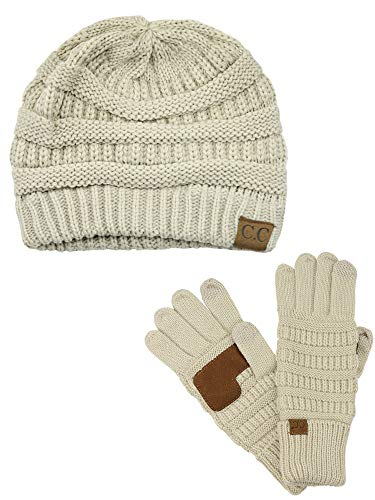 C.C Unisex Soft Stretch Cable Knit Beanie and Anti-Slip Touchscreen Gloves 2 Pc Set, Beige