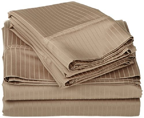 400 Thread Count 100% Egyptian Cotton 1-Piece Fitted Sheet + 2 Piece Pillowcases with 26-30 inches Extra Fit Deep Pocket Both Pattern Solid/Stripe (Olympic Queen , Stripe ,Beige).