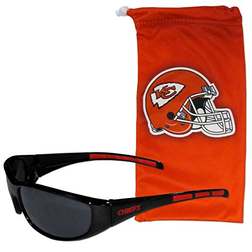 NFL Kansas City Chiefs Adult Sunglass and Bag Set, Red ()