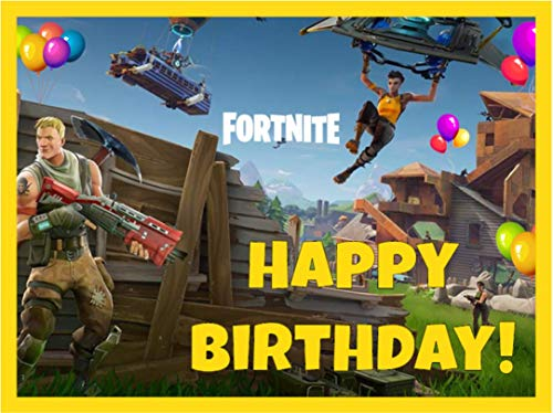 Price comparison product image Fortnite Birthday Cake Topper,  1 / 4 Sheet - HAPPY BIRTHDAY ONLY