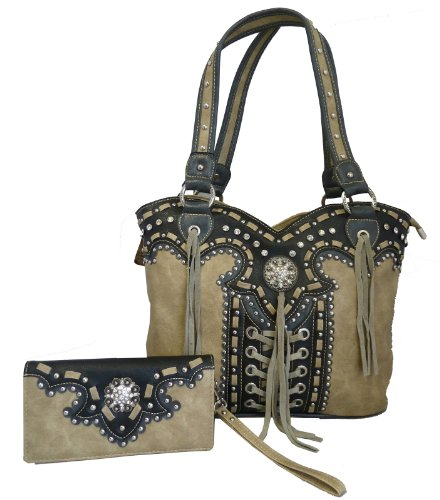 montana-west-concealed-gun-purse-and-wallet-set-laces-and-tassels-design-tan