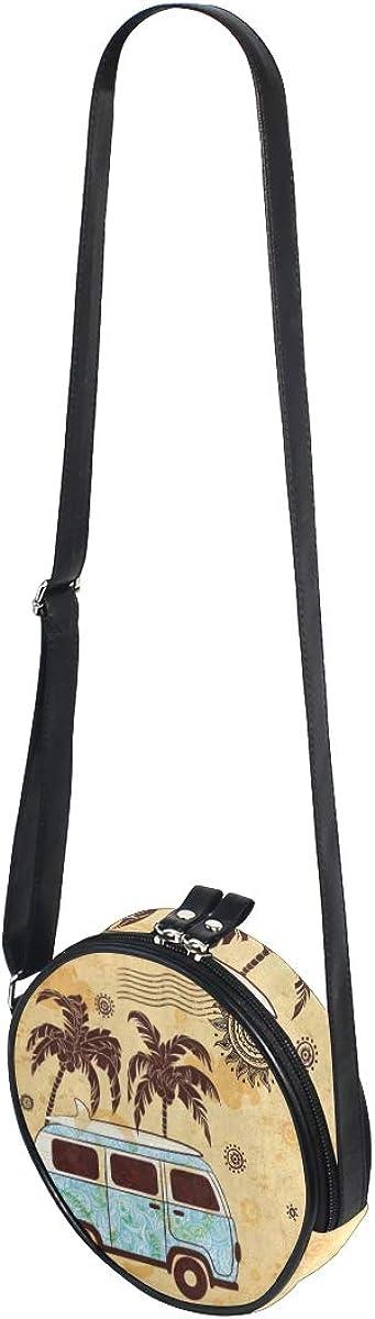 Womens Crossbody Bags Old Fashion Bus Palm Tree Sun Mandala Girls Cute Shoulder Bag