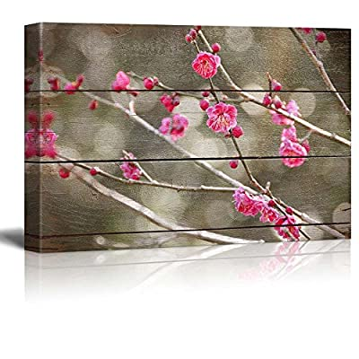 Bright Pink Blossoms on Branch Bokeh Lighting Rustic...16