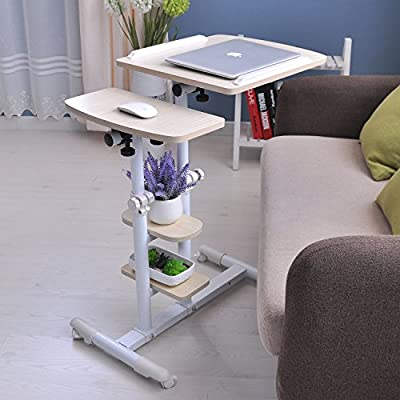 """Adjustable Computer Table with Wheels 18.89"""" Portable Overbed Desk Laptop Computer Stand Desk Cart Tray - Stand up Desk Mobile Standing Desk White Work Station - For Home & Office Use"""