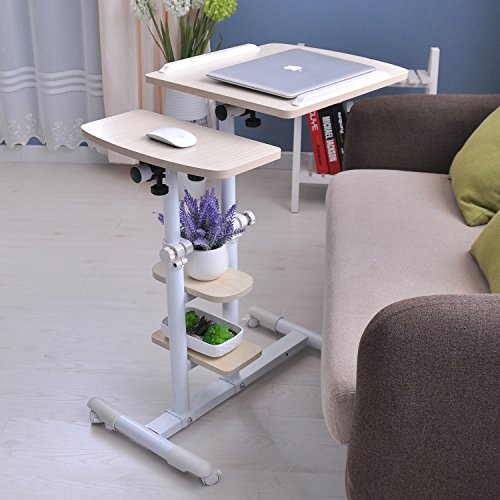 """Adjustable Computer Table with Wheels 18.89"""" Portable Overbe"""