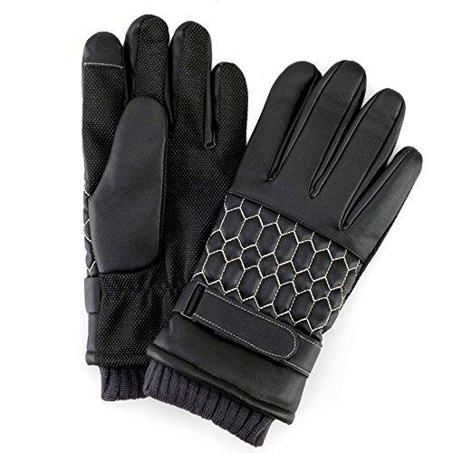 LOCOMO Men Faux Leather Honeycomb Knit Wrist Velvet Touch Screen Glove FMA004XL