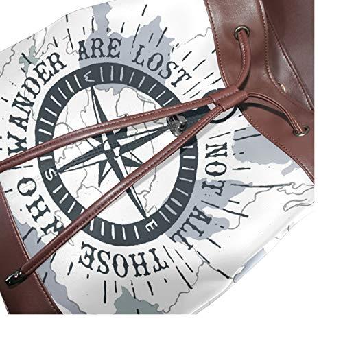 Nautisk kompass ryggsäck handväska mode PU-läder ryggsäck ledig ryggsäck för kvinnor