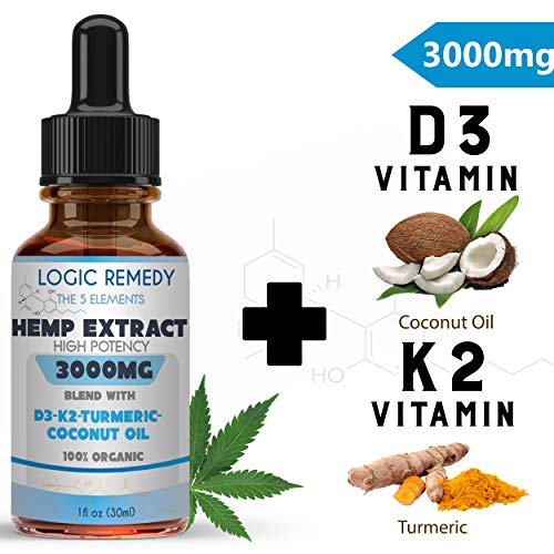 LOGIC REMEDY The 5 Elements (3000 mg) Hemp Oil-Pain, Anxiety Relief, Healthy Mood, Sleep, Skincare Support (Daily dose of Coconut, Turmeric, Vitamin D3&K2) (Best Remedy For Anxiety)