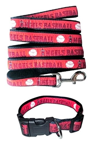 Pets First Los Angeles Angels Nylon Collar and Matching Leash for Pets (MLB Official by Size Large