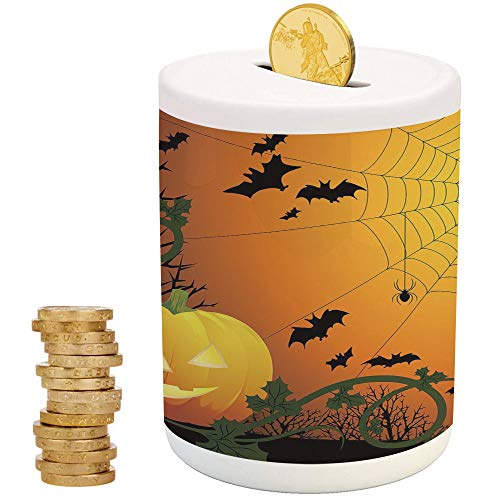 (Spider Web,Piggy Bank Coin Bank Money Bank,Printed Ceramic Coin Bank Money Box for Cash Saving,Halloween Themed Composition with Pumpkin Leaves Trees Web and Bats)