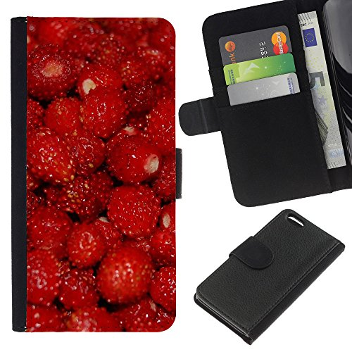 Lead-Star (Fruit Macro Raspberry Red) Colorful Impression Holster Cuir Wallet Cover Housse Peau Cas Case Coque Pour Apple iPhone 5C