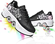 YOUSIOI Deformation Roller Shoes Retractable Skating Shoes That Turn into Rollerskates Outdoor Parkour Shoes w