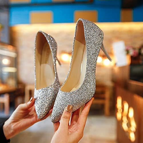 Pompes Chaussures B Noce Talons Womens Slip Pointed Paillettes Hauts Toe on Escarpins Zhangzhiyua À 9cm 4IOxq