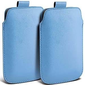 Nokia Lumia 920 premium protección PU ficha de extracción Slip In Pouch Pocket Cordón piel cubierta de la caja azul de bebé (Twin Pack) por Spyrox