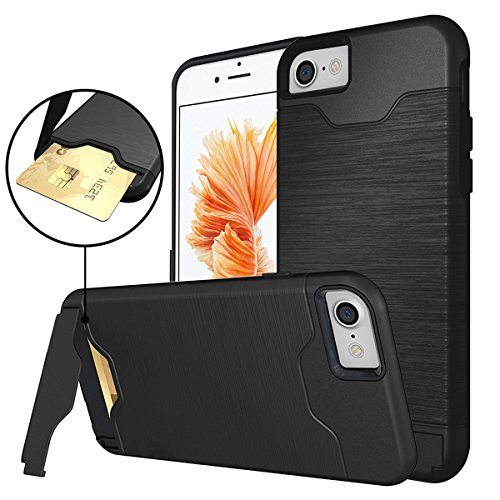 Price comparison product image iPhone 7 Case with Card Holder, Concealed Card Carrying, Shock Absorption Rugged Hybrid Cover Protective Case with Card Slot Holder and Kickstand Wallet Case Heavy Duty Bumper Case for iPhone 7