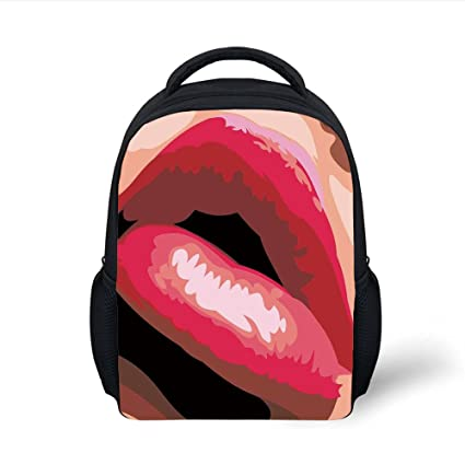 da65909b3fe3 Amazon.com: iPrint Kids School Backpack Girls,Sexy Lips of a Woman ...