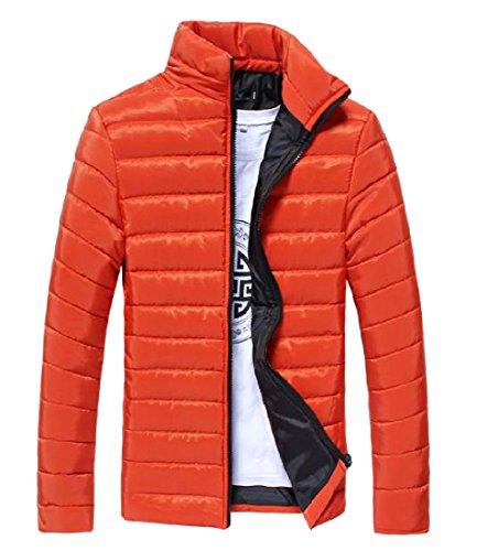 Basamento Rkbaoye Uomini Inverno Solida Di Intera Parka Forma Arancione Giacca Cerniera Collare Addensare Del In 0W0qSRBrc