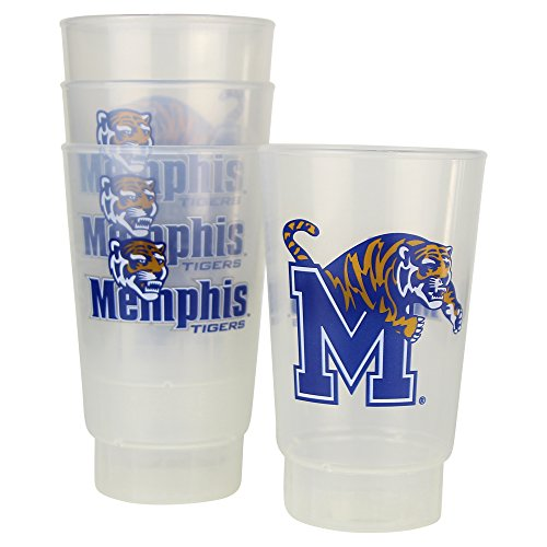 NCAA Frosted Plastic Tailgating Cups, 16oz.(4-Pack) (Memphis Tigers) ()