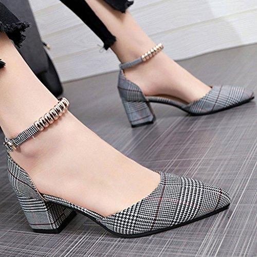Verano Alto de Rústico de sandals Sandalias Tacón Zapatos Tartán Negro de Femenino Tacón Tacón de de qPOXwOt
