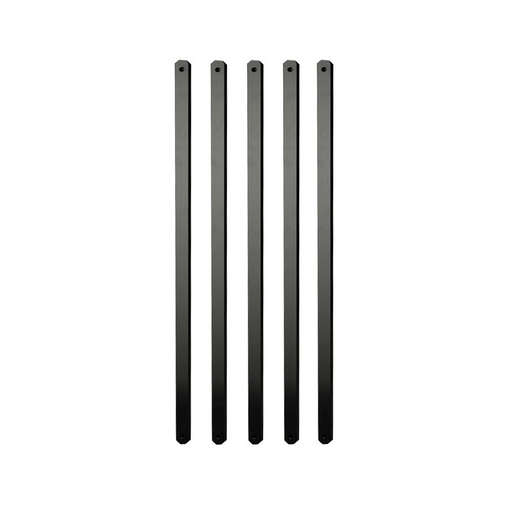 29.5 in. x 1 in. x .19 in. Black Aluminum Flat Baluster (15 pack), Wood and Composite Deck Railing Compatible, Semigloss Finish, Wrought Iron Look