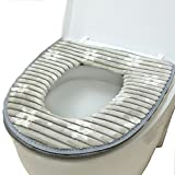 cushion toilet seat Toilet Seat Cover, Washable Toilet Seat Cushion Mat Winter Velcro Bathroom Warmer Soft Pad (Gray)