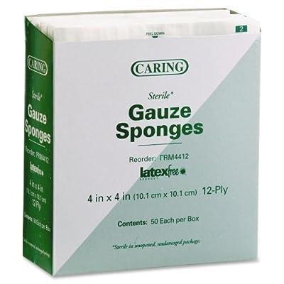 """Medline CARING Woven Gauze Sponge - 12 Ply - 4"""" x 4"""" - 50/Box - White"""