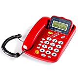 ZYN Wall-mounted Telephone Home Seated Cable Office Fixed Telephone Landline NYZ (Color : Red, Size : L217MMW127MM)