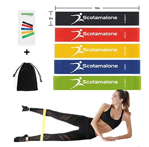 Scotamalone Resistance Exercise Loop Bands for Workout,Home Fitness, Stretching, Physical Therapy and More - Includes Instruction Manual and Carry Bag,Set of 5-12-inch