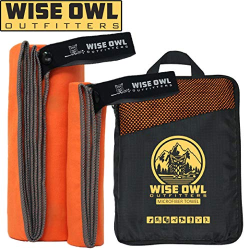 Wise Owl Outfitters Camping Towel - Ultra Soft Compact Quick Dry Microfiber Best Fitness Beach Hiking Yoga Travel Sports Backpacking & The Gym Fast Drying, Free Bonus Washcloth Hand Towel - XL Orange