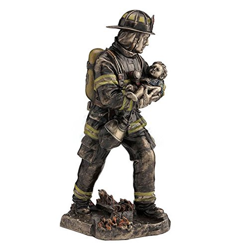 11.25 Fireman Carrying a Child Collectible Men In Uniform Statue Fire Fighter
